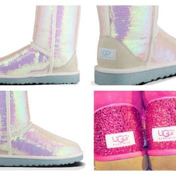 Custom UGG Boots made with Swarovski Sparkle I Do Free: Shipping, Repair Kit, Cleaning