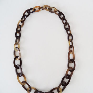 Long Chain Necklace, Chunky Chain Necklace, Horn Necklace, Brown Necklace, Long Necklace, Chunky Necklace, Link Chain Necklace, Big Necklace
