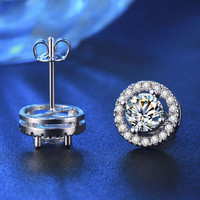 Women Stud Earrings White Gold Color Jewelry AAA Zircon Round Boucle Wedding