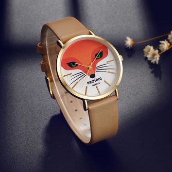BAOSAILI BS1009 Fox Animal Wrist Watch Genuine Leather Strap Quartz Watch