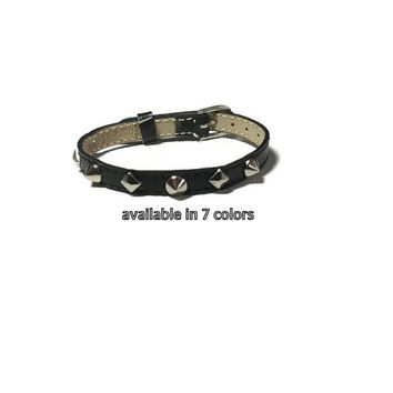 Studded Black Leather Wristband  -  Silver Round Dome Spike Studs - 8mm Black Leather Strap