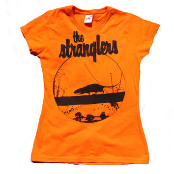 "The Stranglers Rattus Norvegicus t shirt - 1970's Screenprint - Punk - Music - Orange - Womens Small - 32"" Chest"