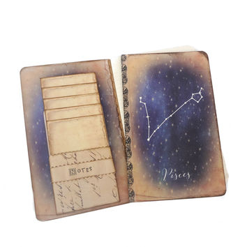 Pisces Constellation Journal, Zodiac Notebook, Horoscope, Astronomy, Astrology, Pisces Gift, Stars, Vintage, Zodiac Constellation Journal