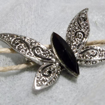 Silver tone, Faux Marcasite Butterfly Pin, Brooch. Center Black Stone, Lacy Wings, Filigree, Silver Tone, Excellent Condition