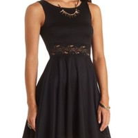 SLEEVELESS LACE-WAISTED SKATER DRESS