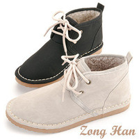 Womens Cute Lace Up Fluff Inner Ankle Flat Boots in Black , Beige