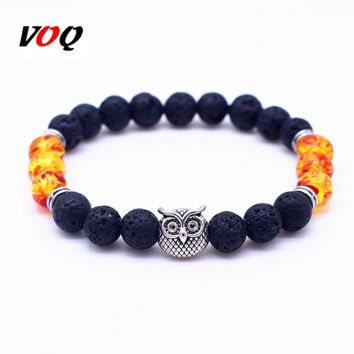 Silver Gold Animal Owl Bracelet With 8mm Natural Black Lava Rock Stone Energy Beaded Bracelets for Women Jewelry Gift