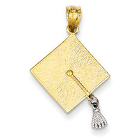 14k Two-tone 3-D Graduation Cap w/Moveable Tassel Pendant