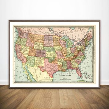 The United States of America USA Map Wall Decor Canvas Prints Canvas Art Poster Oil Paintings No Frame
