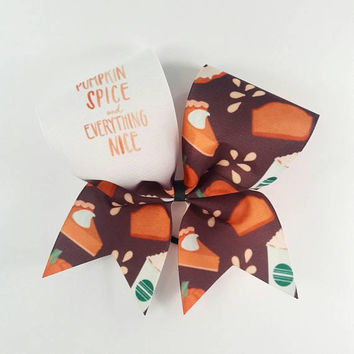 Pumpkin Spice Cheer Bow - 3 Inch Texas Sized - Halloween Party - Theme Practice - Birthday Gift - Ponytail Accessory - Fall