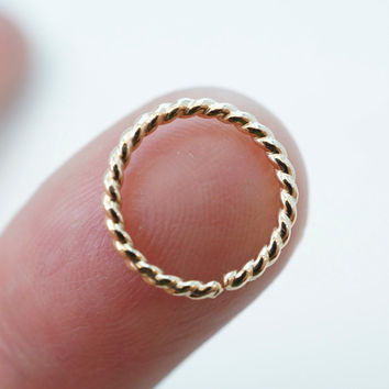 16 Gauge Septum Ring . Nose Ring  . Cartilage Earring . Piercing . Gold 12mm .14mm Hoop. Brow. Endless. Catchless. Twist Wire
