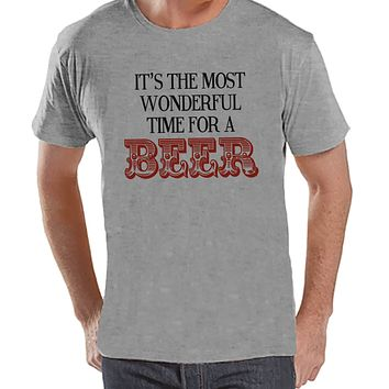 Most Wonderful Time For A Beer - Adult Christmas Tee - Men's Christmas T-Shirt - Men's Grey T Shirt - Drinking Shirt - Holiday Gift Idea