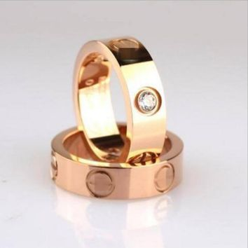 """Cartier"" Trending Women Men Ring Stylish Lovers Rhinestone Ring Simplicity With Color"