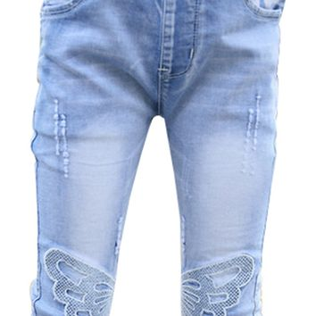 High Quality Child Kid Teen Girl Casual Elastic Waist Butterfly Skinny Slim Summer Denim Jeans Capris Cropped Trousers Pants