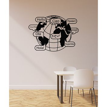 Vinyl Wall Decal Hello Words Earth Office Space Interior Art Decoration Stickers Mural (ig5955)