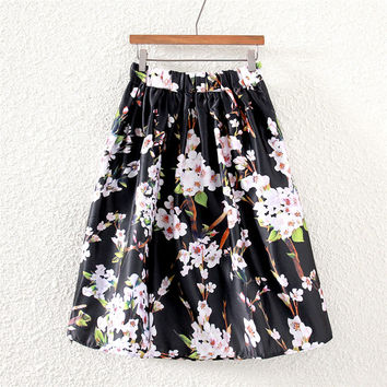 Black Floral A-line Pleated Midi Skirt