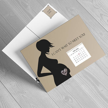 Personalized printable pregnancy card postcard, your ultrasound picture and due date! Baby shower gift idea