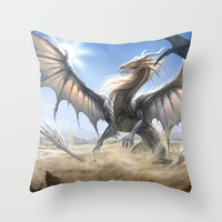 White Dragon Throw Pillow by Sandara