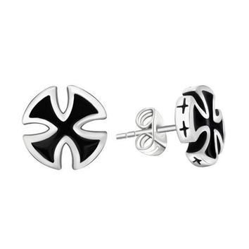 2 Pieces Fashion Punk Cool Biker Black Colors Cross Stud Earrings Anti-allergy Men's Male Body