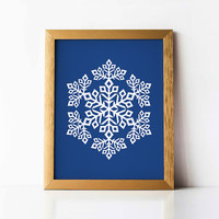 Snowflake decor Blue Christmas decor, Snowflake PRINTABLE wall art print, Christmas printable art, Blue wall print White and navy blue decor