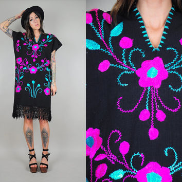 vtg 70's black EMBROIDERED tent Dress floral Mexican caftan FRINGE Oaxacan Ethnic