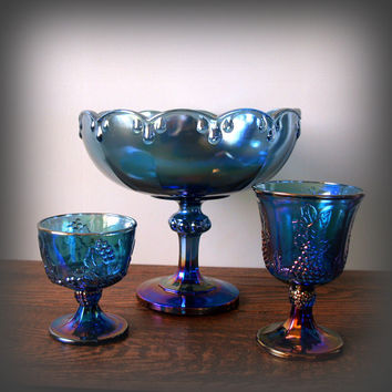 ANTIQUE BLUE RAINBOW Glass Set of 3 Vintage Iridescent Carnival Depression Glassware Footed Compote & Goblets Instant Collection