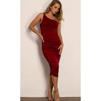 Dance With Somebody Burgundy Sleeveless Stretchy One Shoulder Ruched Bodycon Midi Dress