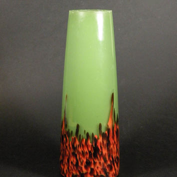 French vintage colored glass vase, green and orange vase, vintage glass vase, mid-century vase, coloured glass vase, 1950s glass vase