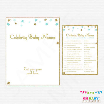 Twinkle Twinkle Little Star Baby Shower, Celebrity Baby Name Game, Blue and Gold Baby Shower, Printable Baby Shower, Instant Download, STBG