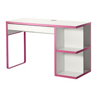 """MICKE Desk with integrated storage, white, pink - 47 1/4x19 5/8 """" - IKEA"""