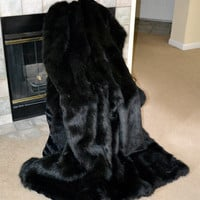 "Faux Fur Throw, Stunning Black Faux Fur, Black Bear Blanket Throw, 72"" x 60"", Ready to Ship!"