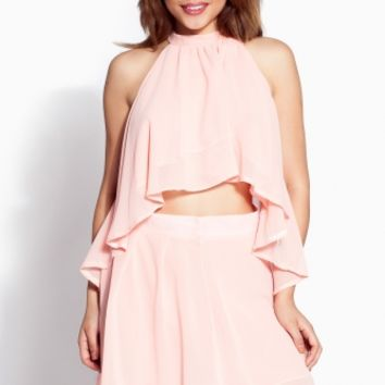 Peach Draped Chiffon Dress Set @ Cicihot sexy dresses,sexy dress,prom dress,summer dress,spring dress,prom gowns,teens dresses,sexy party wear,ball dresses