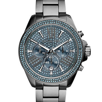 Michael Kors Ladies Wren Gunmetal Tone Glitz Chronograph Watch