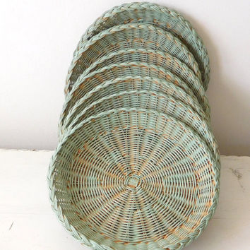 Wicker Paper Plate Holders Patina Painted Washed Picnic Accessory Upcycled Set of 7 Boho Decor