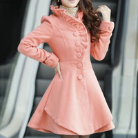wool lace Pure color coat  AB830CH