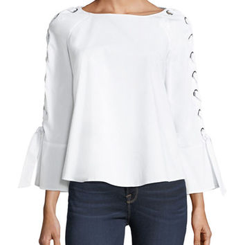 Neiman Marcus Tie-Sleeve Stretch-Cotton Blouse