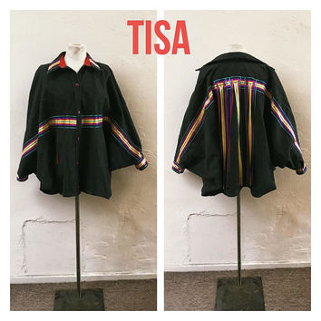 Tisa Dark Denim Jacket - Taz Arnold - ribbon fringe jacket - dolman sleeve jacket - butterfly jacket  - hipster - rainbow jacket - hip hop