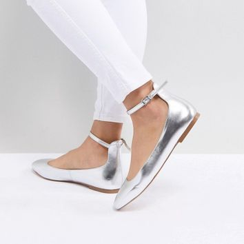 Faith Annette Metallic Ballet Flats at asos.com