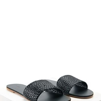 Faux Leather Slip-On Sandals