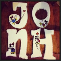 KIDSLINE VINTAGE MICKEY INSPIRED HAND PAINTED WOOD WALL LETTERS
