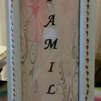 Up-Cycled, Cottage Chic, Hand Painted FAMILY Picture Frame -Mint Green Frame With Hand Painted Pink and Green Details Around Frame With Bows