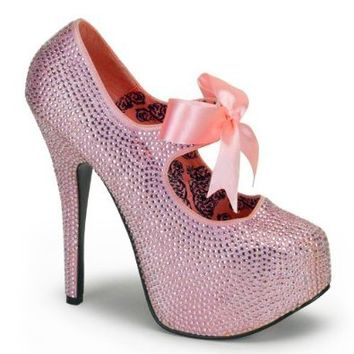 Womens May Janes Rhinestone Pumps 5 3/4 Inch Heels Pink Gold Red Multicolored Size: 7 Colors: Gold