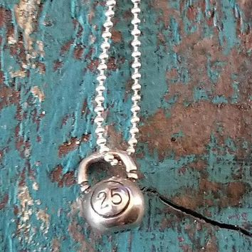 Tiny Sterling Silver Kettlebell Charm Necklace