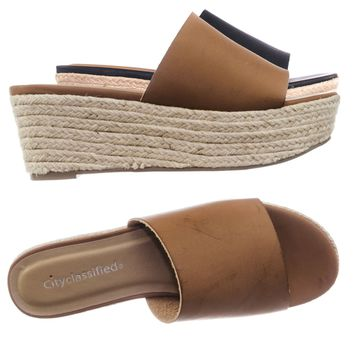 Strauss Vintage Women Espadrille Jute Rope Wrapped Flatform Slide In Sandal