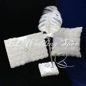Free shipping,New arrived Set of 3pc White Rose Satin Crystal Wedding Guest Book Ring Pillow Feather Pen Holder Sets WS75