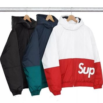 Supreme 2018 Winter Men and Women Couple Color Matching Logo Jacket F-CP-ZDL-YXC