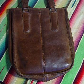 Vintage 70s Leather Coach Bag 1970s Dark Brown Small Tote New York City Double Handle