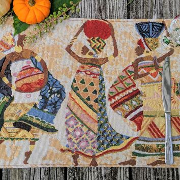 """DaDa Bedding Dancing Women African Dreams Placemats, Set of 4 Tapestry 13"""" x 19"""" (18117)"""