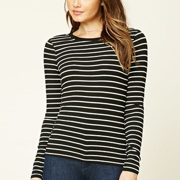 Stripe Knit Long Sleeve Top
