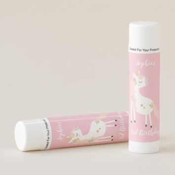 Sparkly Pink Gold White Unicorn Birthday Favors Lip Balm